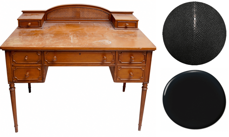 Vintage Sheraton style writing desk | Lacquer the body in high gloss black and cover table top and drawer fronts in black faux shagreen