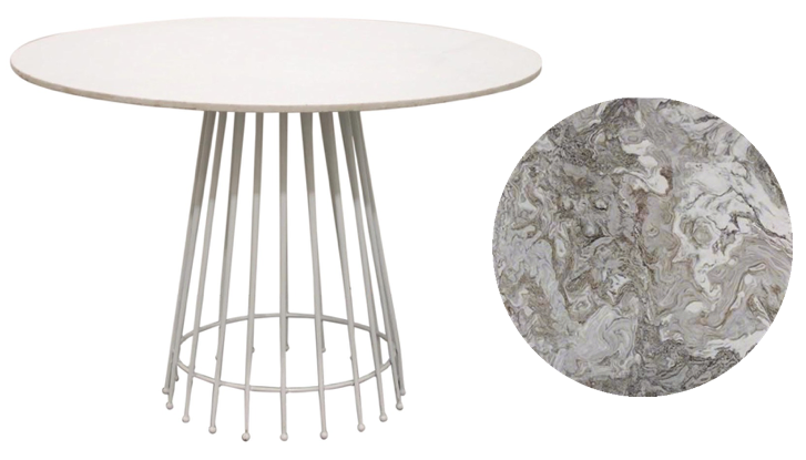Vintage metal table | replace table top with exotic marble top for a more bespoke look.