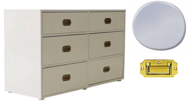 Vintage campaign dresser with brass pulls | Lacquer in soft lilac and polish brass drawer pulls