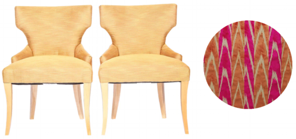 Klismos style dining chairs | Reupholster with Dedar Coup de Foudre upholstery fabric