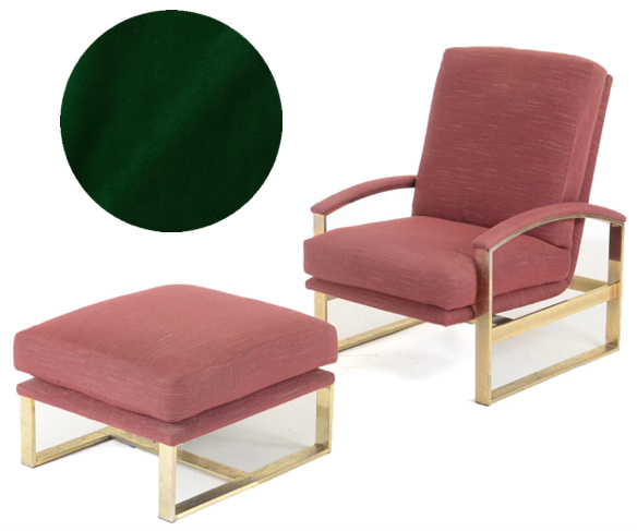 Milo Baughman style brass chair and ottoman | Reupholster in emerald green silk velvet fabric