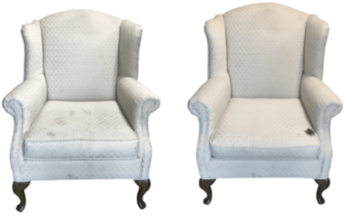 Vintage wingback chairs ready to be reupholstered by Revitaliste