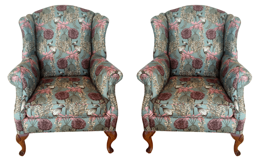 Vintage wingback chairs upholstered in Abigail Borg Laburnum fabric