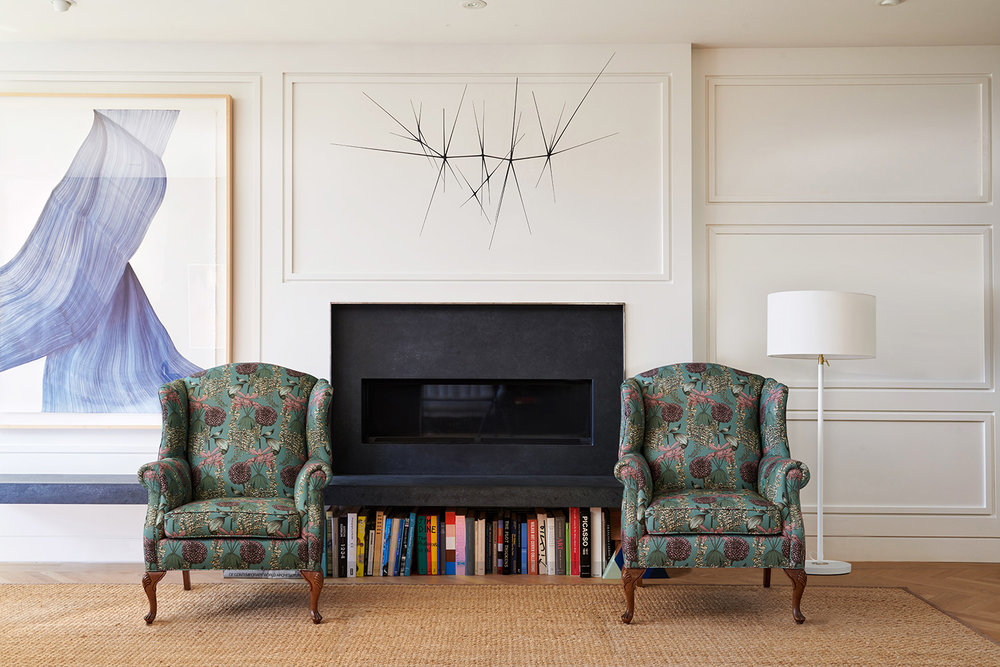 "Wingback chairs reupholstered in Abigail Borg ""Laburnum"" upholstery fabric in teal"