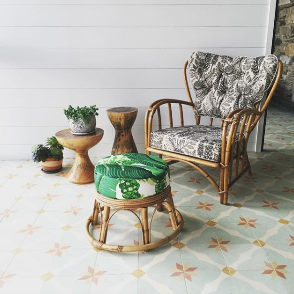 Vintage rattan chair reupholstered in Abigail Borg fabric