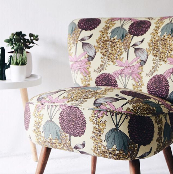 Vintage chair upholstered in Laburnum Raspberry fabric from Abigail Borg