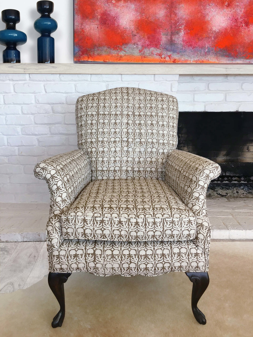 Heirloom chair reupholstered in Penny Morrison Ashok fabric