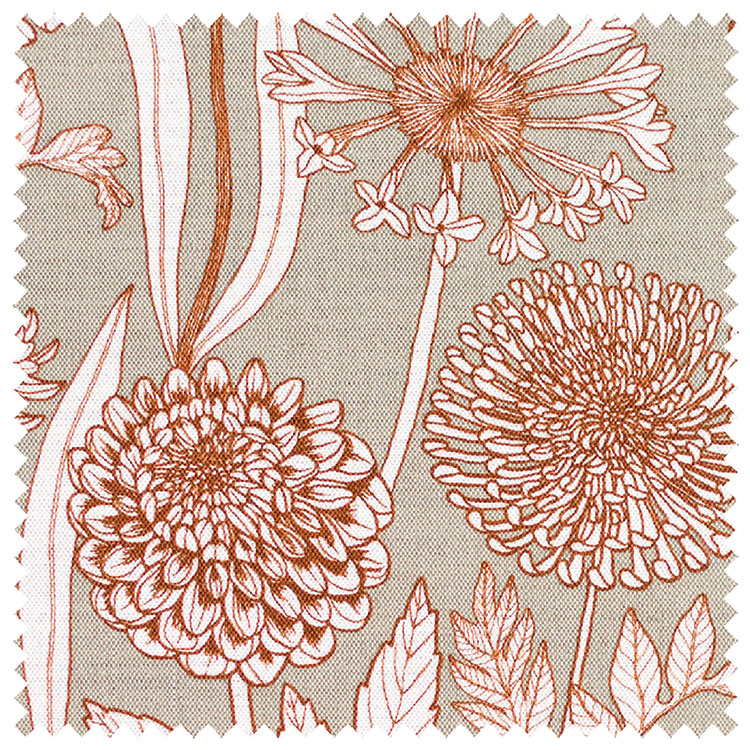Abigail Borg Wild Garden Slate Ecru Fabric
