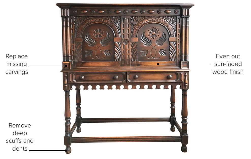 Antique secretary in need of restoration