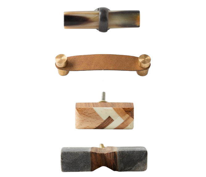 Budget-friendly decor refresh idea: Upgrade drawer hardware with leather, horn, stone or unique wood pulls