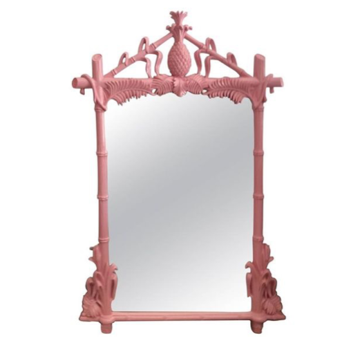 Budget-friendly decor refresh idea: lacquer mirror frames in fun, glossy colors - dusty pink