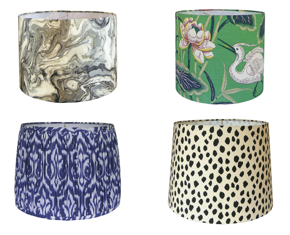 Budget-friendly decor refresh idea: custom lampshades wrapped in various fabrics or wallpapers