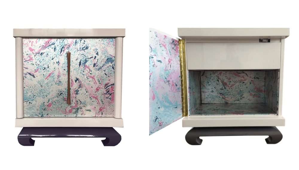 Budget-friendly decor refresh idea:  line the interior of case pieces with wallpaper