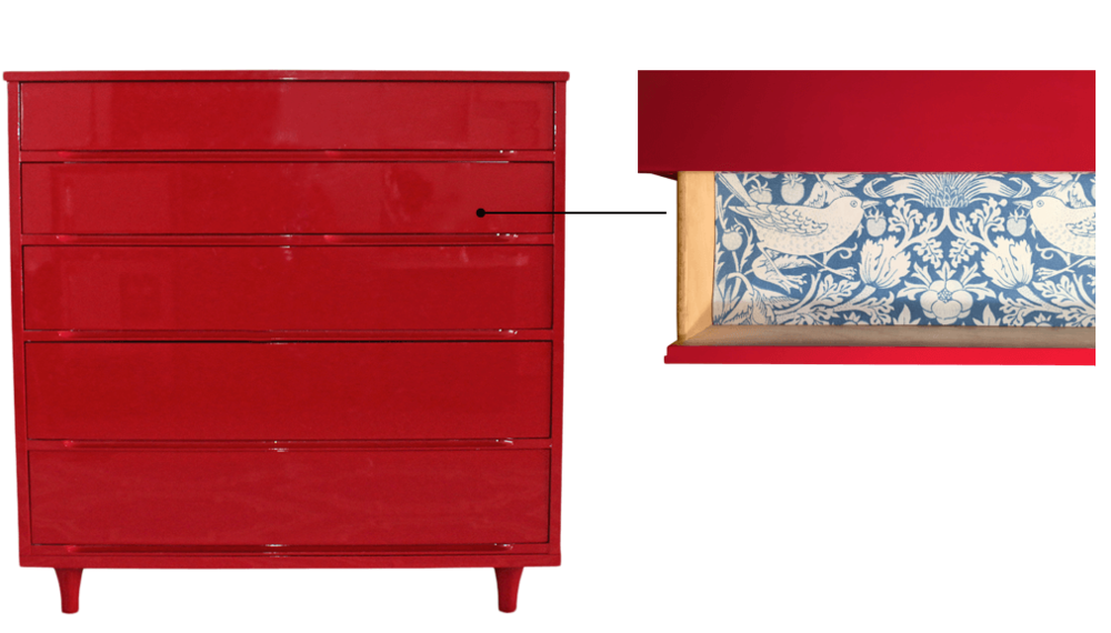 Budget-friendly decor refresh idea:  Line drawers with wallpaper