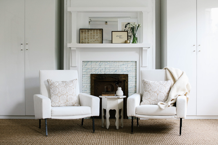 Revitaliste reupholstered these Vintage Italian Club Chairs in a white velvet from Robert Allen.