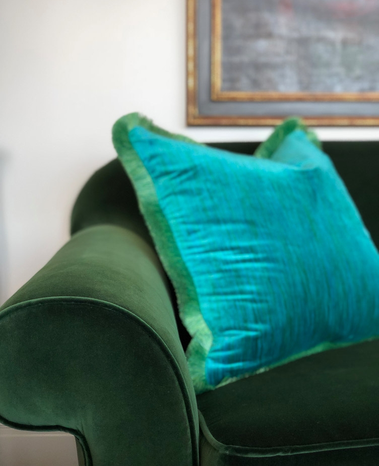 Revitaliste reupholstered this Traditional Sofa in a green silk velvet from Lee Jofa.
