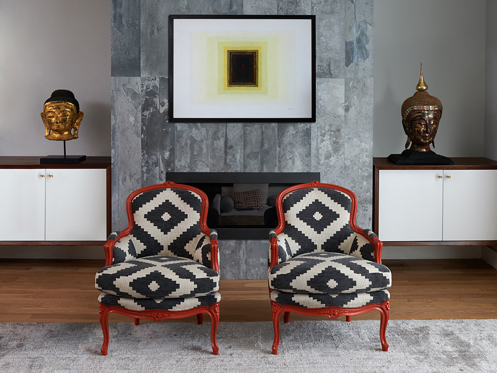 "Revitaliste reupholstered these Heirloom Bergère Chairs in Schumacher ""Vail Chenille"" in Emerald and lacquered the wood frames in a custom color burnt orange lacquer."