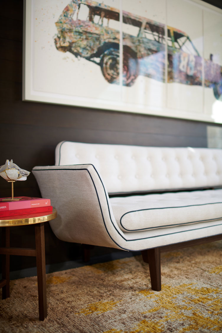 "Revitaliste reupholstered this Edward Wormley Gondola Sofa in Holly Hunt ""Melody"" in Tenor."