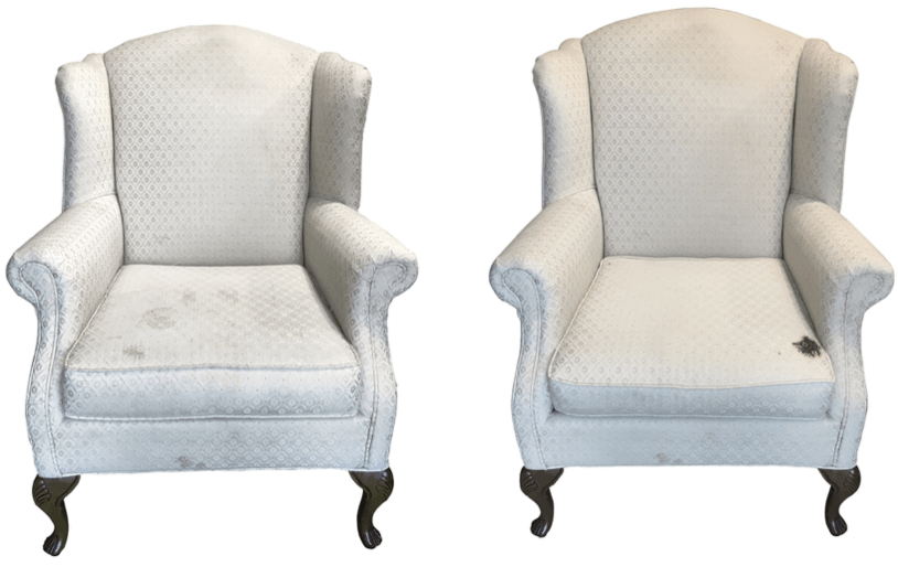 Heirloom Wingback Chairs before reupholstery | Revitaliste
