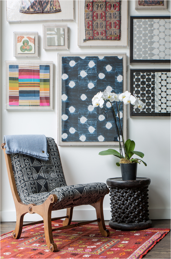"""Revitaliste reupholstered these Vintage Japanese Moon Chairs in St. Frank """"Mud Cloth"""" in black and refinished the wood frames in a walnut wood stain with a satin sheen."""