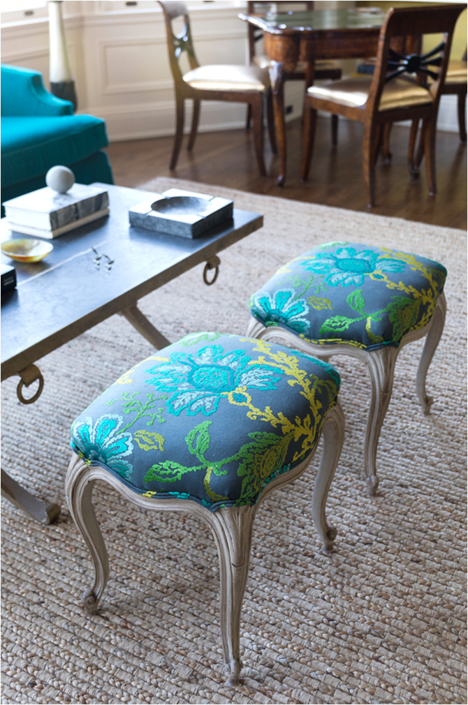"Revitaliste reupholstered these Louis-Style Footstools in Nina Campbell for Osborn & Little ""Coromandel."""