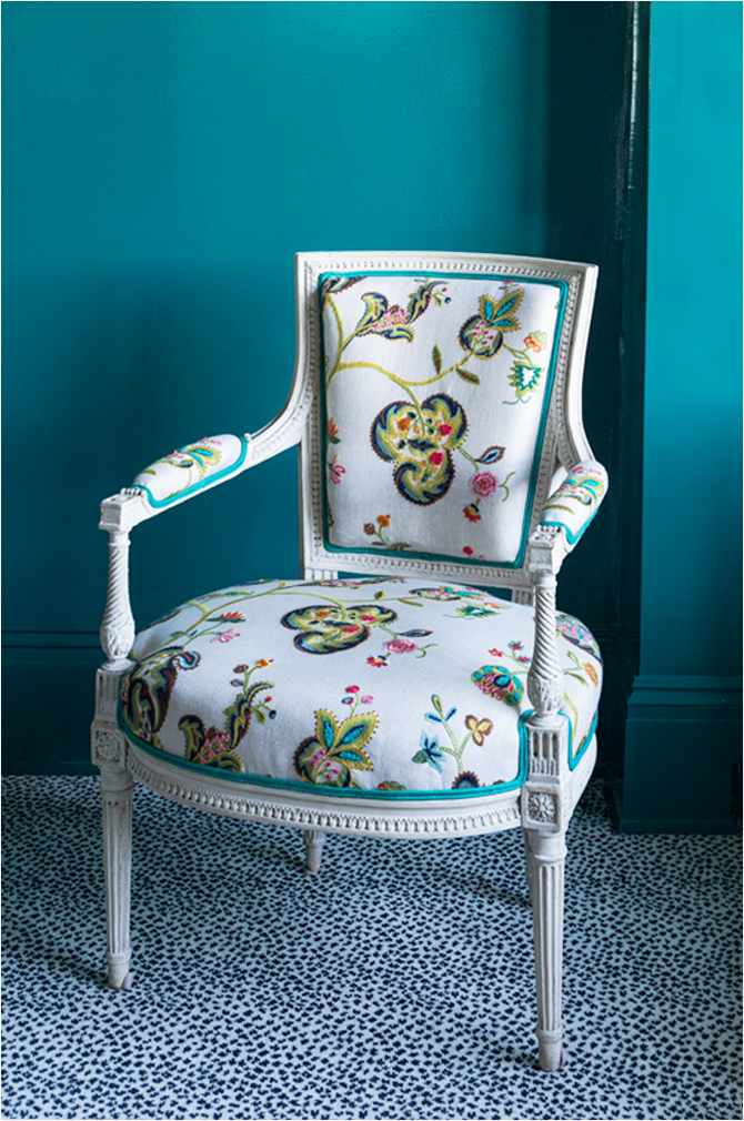 "Revitaliste reupholstered these Louis XVI Armchairs in GP & J Baker ""Montjoy"" with a contrasting double welt in teal fabric."