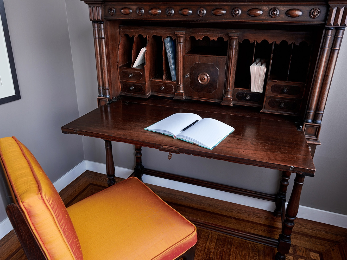 dark mahogany furniture. Revitaliste Refinished The Antique Secretary Desk In A Dark Mahogany Wood  Stain, Replaced Carved Furniture