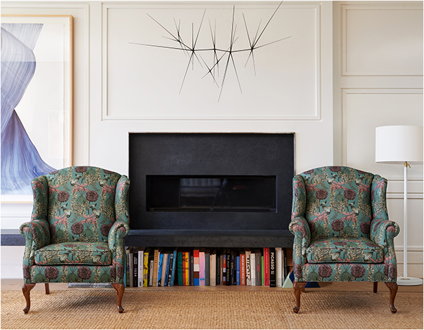 "Revitaliste reupholstered these Heirloom Wingback Chairs in Abigail Borg ""Laburnum"" in Teal."