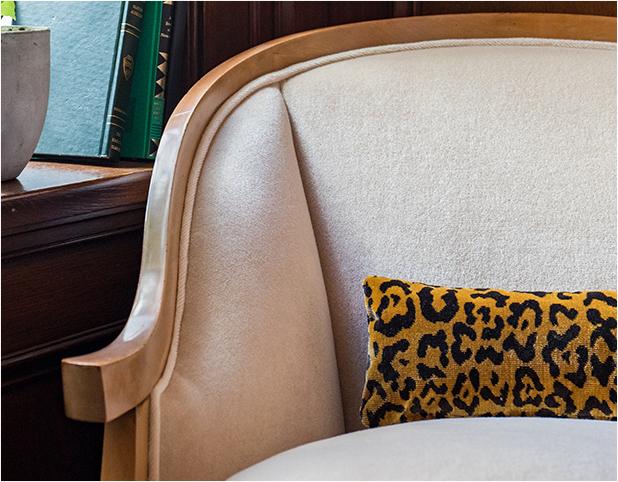 Revitaliste reupholstered this Vintage Italian Arm Chair in a winter white velvet from Holly Hunt.