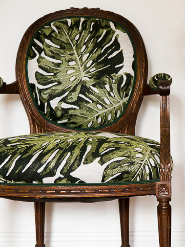 "Revitaliste reupholstered these Heirloom Fauteuil Chairs in Holly Hunt Great Outdoors ""Palm"" in Amazon and added a Samuel & Sons double French welt in Spruce Green."