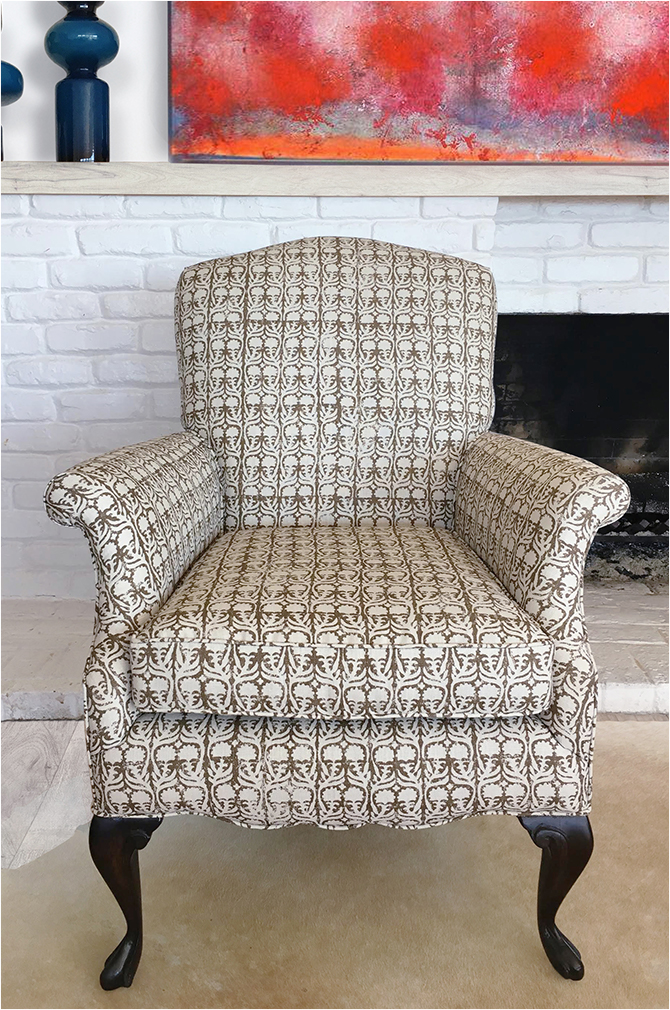 "Revitaliste transformed this English Roll-Arm Chair in Penny Morrison ""Ashok"" in Chocolate."