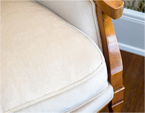 Revitaliste reupholstered this Vintage Italian Arm Chair in a winter white velvet from Holly Hunt.