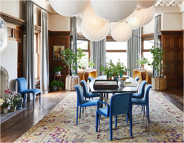 Revitaliste reupholstered these Vintage Knoll Dining Chairs in Yves Klein blue velvet and lacquered the wood frames in a custom-color blue lacquer with a high gloss sheen.