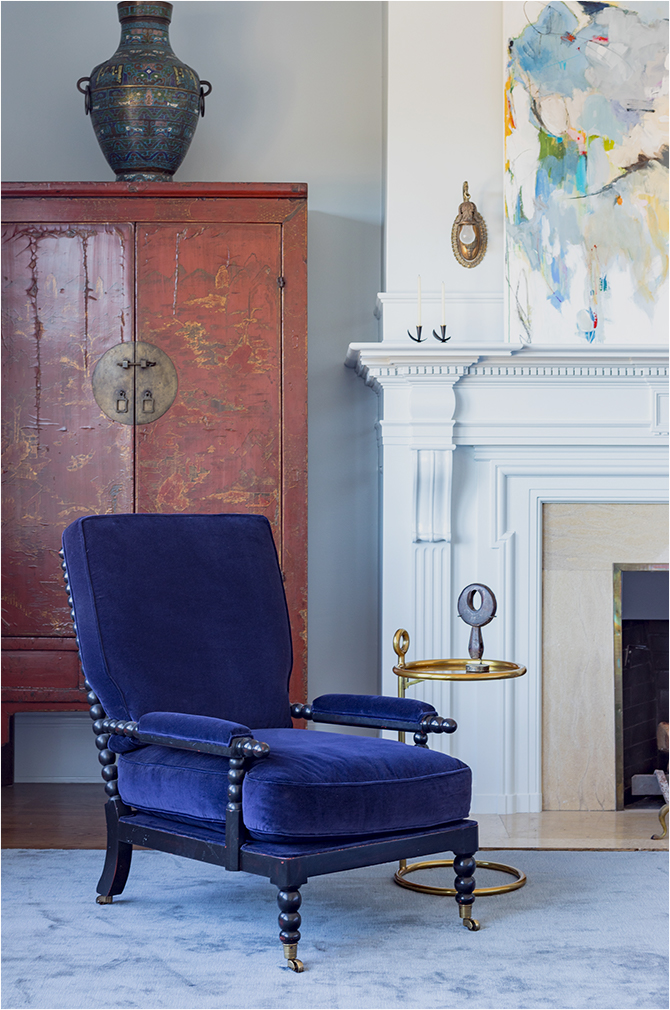 "Revitaliste reupholstered these Upholstered Bobbins Chairs in Schumacher ""Gainsborough"" in indigo."