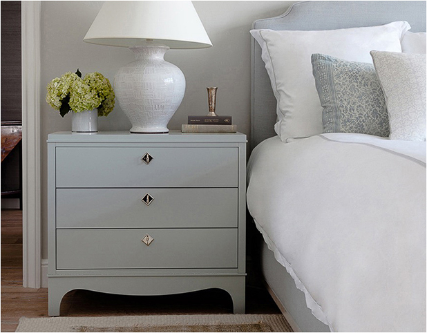 Revitaliste stripped and lacquered these Traditional Nightstands in a soft pale blue lacquer with a semi-gloss sheen and metal plated the drawer pulls.