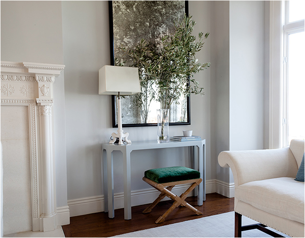 Revitaliste lacquered the Six-Leg Console Table in a custom soft blue-grey semi-gloss lacquer.