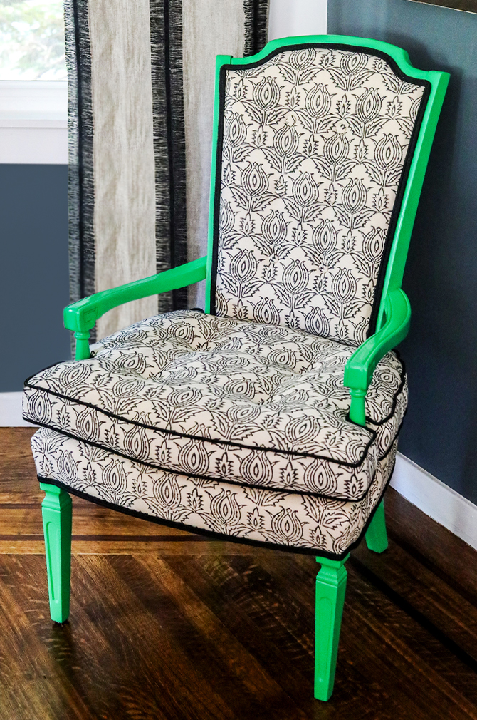 "Revitaliste reupholstered these Hollywood Regency Accent Chairs in Madeline Weinrib ""Thiste"" and lacquered the wood frames in a custom kelly green."