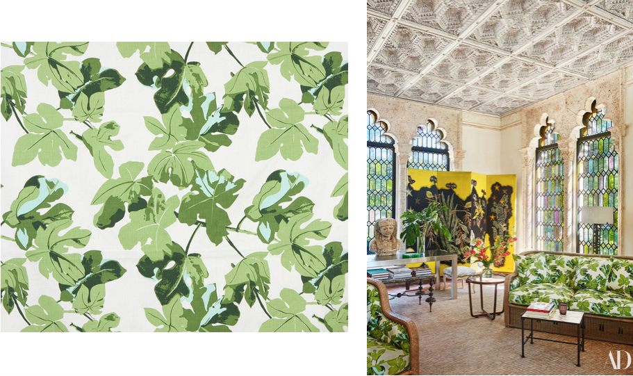 Peter Dunham's 'Fig Leaf' featured in an interior by Jacques Grange on the cover of Architectural Digest, May 2018.
