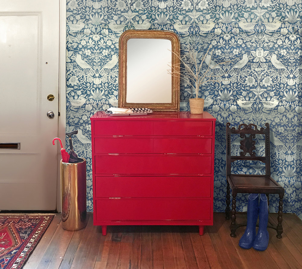 Revitaliste refinished the Mid-Century Dresser with Rosso Corsa automotive paint and lined the drawers with William Morris wallpaper.