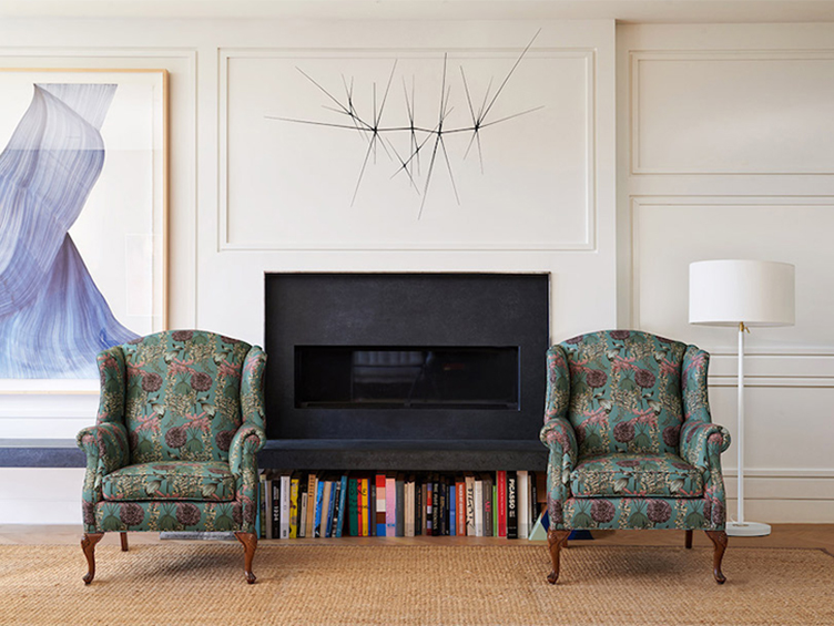 """A pair of wingback chairs, revitalized in Abigail Borg """"Laburnum"""" in teal"""