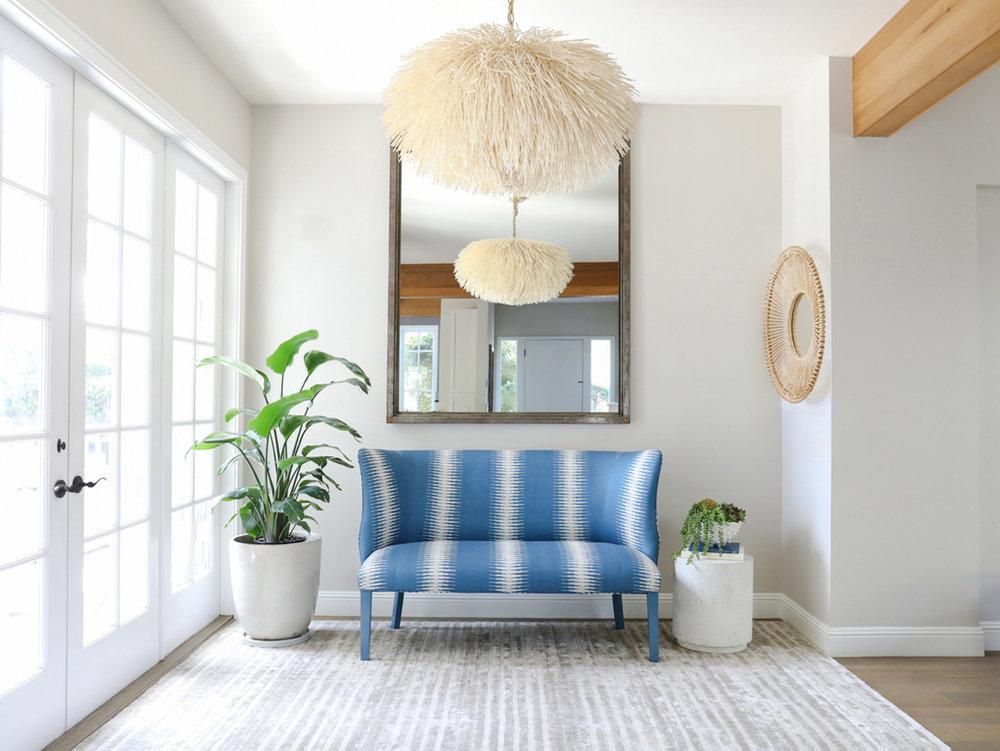 Settee+reupholstered+in+Peter+Dunham+_Ikat_+fabric+in+indigo.jpeg