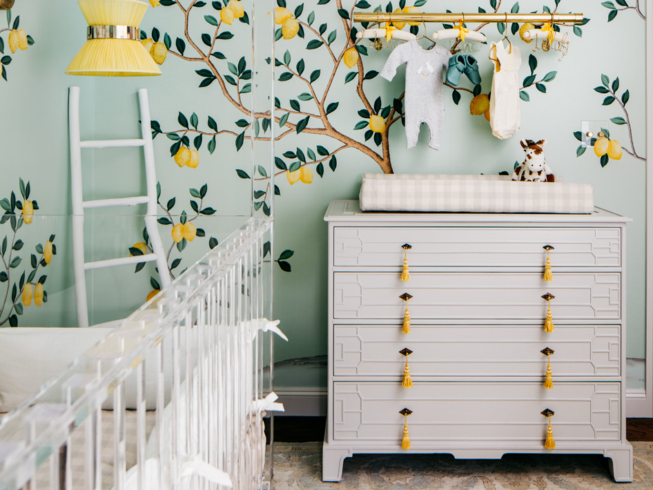 Dresser+revitalized+with+grey+lacquer,+custom+drawer+pulls+and+lemon+yellow+tassles.jpeg