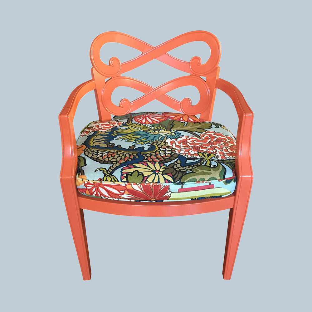 """Hollywood Regency Side Chairs - Wood frames refinished in a custom vibrant coral lacquer. The seats upholstered in Schumacher """"Chiang Mai Dragon"""" fabric in the aquamarine color way."""