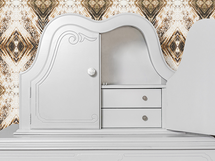 The revitalized dresser: lacquered in a custom grey.