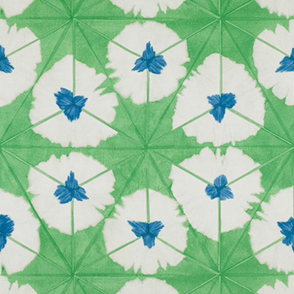 """1. Thibaut """"Sunburst"""" in Emerald Green - A kaleidoscopic, bold design, Sunburst in Emerald green colorway is a modern update on a retro pattern. Reminiscent of the Summer of Love, this fun pattern is surprisingly versatile and could work in a maximalist interior to a mid-century modern laden space."""
