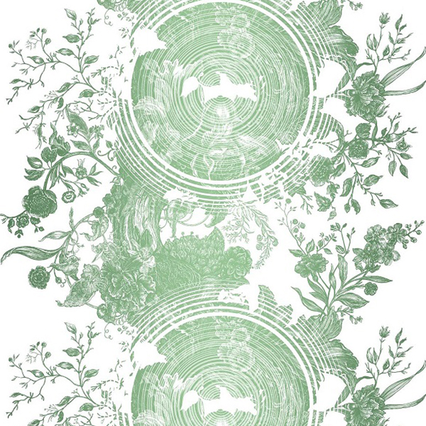 """9. Timorous Beasties """"Tree of Life"""" in Ice - Soft sage green printed on white, 'Tree of Life' in Ice colorway is a fantastical, swirling take on traditional toile. Tree rings are overlaid on delicate florals, and the result is a mesmerizing pattern using both positive and negative space."""