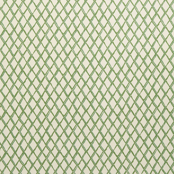 """10. Diane Bergeron Design """"Lexington"""" in Moss - Australia-based designer Diane Bergeron creates beautiful fabrics, often in traditional prints with a modern twist. 'Lexington' in Moss colorway is a highly versatile geometric pattern on a lovely cream background."""