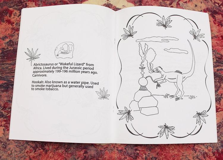 Dinosaurs Smoking Weed Coloring Book Hellhound Vintage
