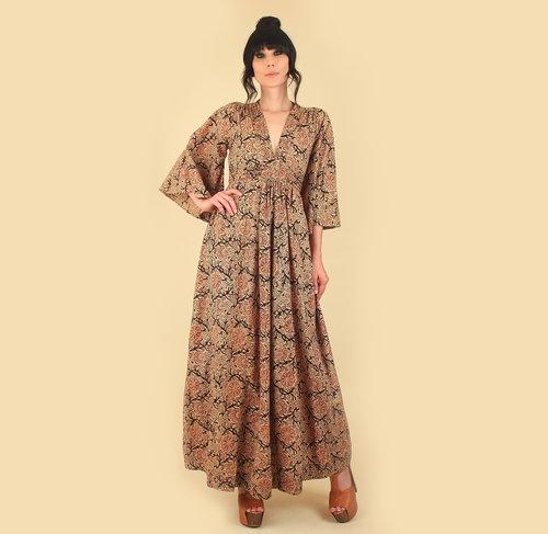 bc99674f4 vintage Indian Cotton Dress Maxi Block Print Printed Kimono Sleeves 70s  hellhoundvintage hellhound vintage hippie boho