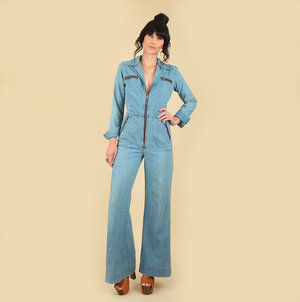 f048830b9180 vintage 70s denim jumpsuit hellhound vintage hellhoundvintage jeans bib  overalls light denim vintage clothing fashion style